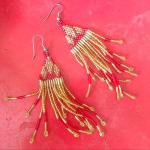 Vintage handmade boho seed bead Earrings